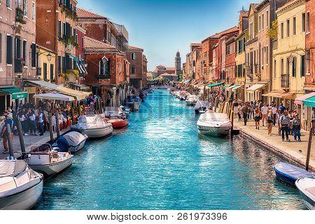Venice, Italy - April 30: View Over The Scenic Canal Rio Dei Vetrai On The Island Of Murano, Venice,