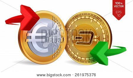 Dash To Euro Currency Exchange. Dash. Euro Coin. Cryptocurrency. Golden Coins With Dash And Euro Sym