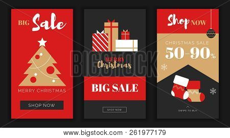 Modern Flat Merry Christmas New Year Big Sales App Screen Template, Web Online Shopping Concept.newy