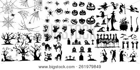 Collection Of Halloween Silhouettes Icon And Character., Witch, Wizard Attributes, Creepy And Spooky
