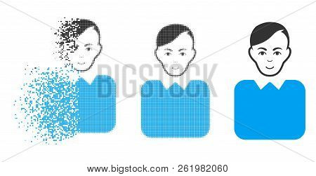 Bureaucrat Icon With Face In Dispersed, Pixelated Halftone And Undamaged Whole Versions. Cells Are C