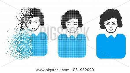Bureaucrat Lady Icon With Face In Dispersed, Dotted Halftone And Undamaged Solid Versions. Fragments