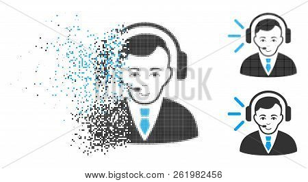 Call Center Operator Icon With Face In Dispersed, Dotted Halftone And Undamaged Whole Versions. Pixe