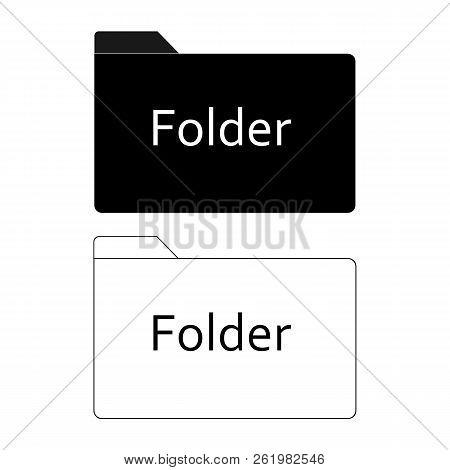Folder Icon On White Background. Flat Style. Black Folder Icon For Your Web Site Design, Logo, App,