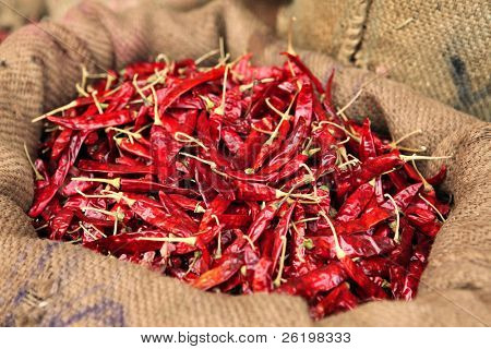 A sack full of dried hot red chillies in a sack at Connemara Market, Trivandrum, Kerala, India poster