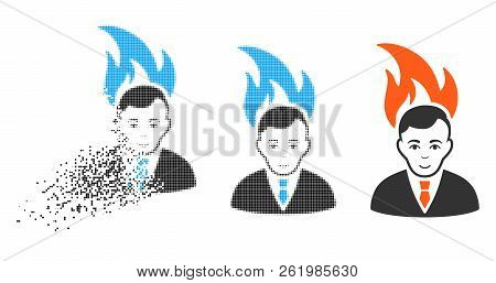 Fired Manager Icon With Face In Dispersed, Pixelated Halftone And Undamaged Solid Variants. Cells Ar
