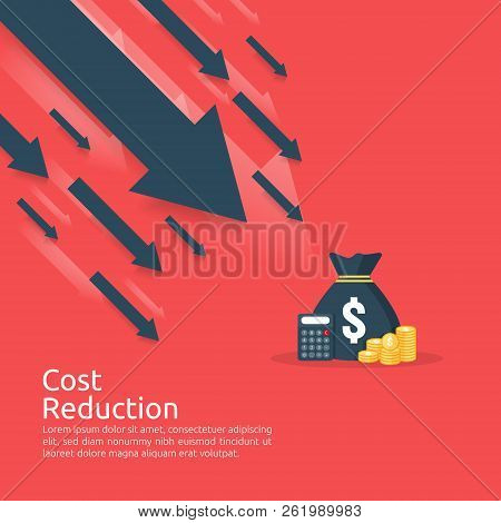 Business Finance Crisis Concept. Stack Pile Coins And Money Bag Icon. Arrow Decrease Economy Stretch
