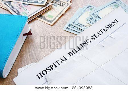 Hospital Billing Statement In The Envelope. Medical Debt.
