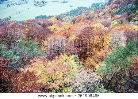Colorful Autumn Forest Bellow Kecka Hill In Sulovske Skaly Mountains In Slovakia