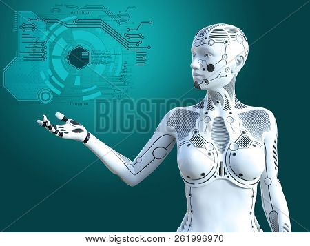 3d Rendering Of A Robot Woman Standing And Holding Her Arm Out. Futuristic Digital Concept.