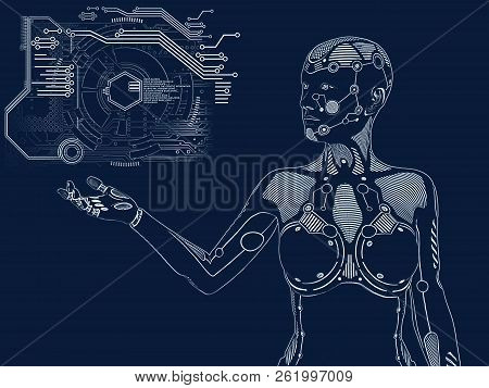 3d Rendering Illustration Of A Robot Woman Standing And Holding Her Arm Out. Futuristic Digital Conc