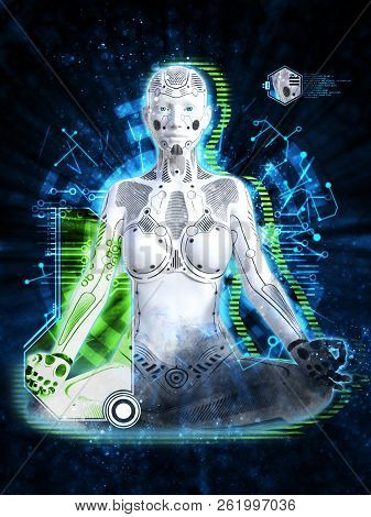 3d Rendering Of A Robot Woman Sitting In Space And Meditating. Futuristic Digital Technology Concept