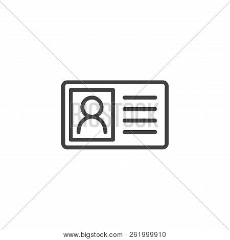 Identity Card Outline Icon. Linear Style Sign For Mobile Concept And Web Design. Member Id Card Simp