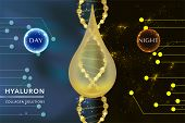 Hyaluronic acid skin solutions ad, gold collagen serum drop with night and day cosmetic advertising background ready to use, vector illustration. poster