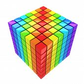 rainbow-colored cube isolated over white background spectrum poster