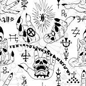 Seamless pattern with mystic symbols and magician fingers on white. Esoteric, occult and wicca concept, Halloween illustration with mystic symbols and sacred geometry poster