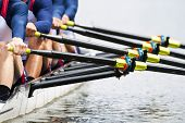 Close up of a men's quadruple skulls rowing team, seconds after the start of their race poster