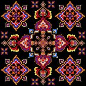 decorative east symmetric ornament on black background poster