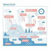 Water Cycle vector illustration diagram. Evaporation to condensation, transportation, precipitation, infiltration and percolation. Ecosystem scheme with ocean, clouds, rain, snow, lakes and rivers. poster