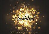 Spanish Feliz Navidad. Christmas background with golden lights bokeh. poster