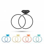 Wedding rings icon isolated on white background. Bride and groom jewelery sign. Marriage icon. Diamond ring icon. Set elements in colored icons. Flat design. Vector Illustration poster