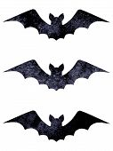 Halloween silhouettes set of three watercolor dark navy blue black terrible bats isolated on white background. Halloween night forest concept design element. Icon illustration poster