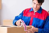 Transportation contractor with fragile boxes poster