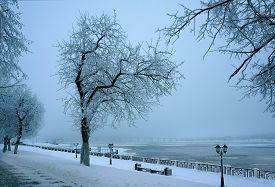 Winter Nature, Evening Snowy  City Landscape, River