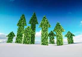 Sustaining Eco Growth And Sustainable Development Concept. 3d Illustration Of Green Leaf Arrows Grow