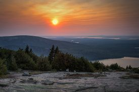 Sunset Over Acadia National Park - Cadillac Mountain, Maine, Usa