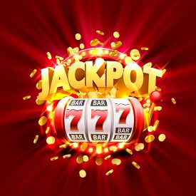 Golden Slot Machine Wins The Jackpot. Isolated On Red Background. Vector Illustration