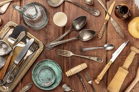 An Overhead Photo Of Many Vintage Kitchen Objects And Cutlery From An Old Restaurant, Flea Market St