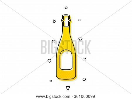 Anniversary Alcohol Sign. Champagne Bottle Icon. Celebration Event Drink. Yellow Circles Pattern. Cl