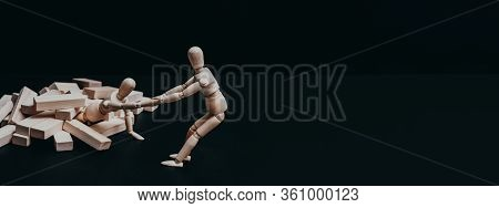 Corporate Solidarity. Teamwork Cooperation. Conceptual Articulated Manikin Composition.