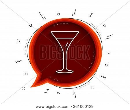 Martini Glass Line Icon. Chat Bubble With Shadow. Wine Glass Sign. Thin Line Martini Glass Icon. Vec