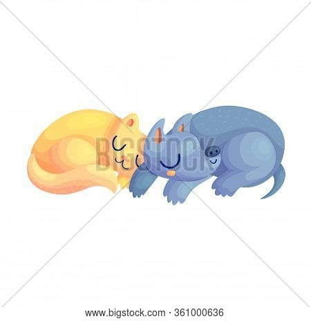 Cute Cat And Dog Cartoon Characters Asleep Together. Pet Friends Nursery Baby Nap Vector Illustratio