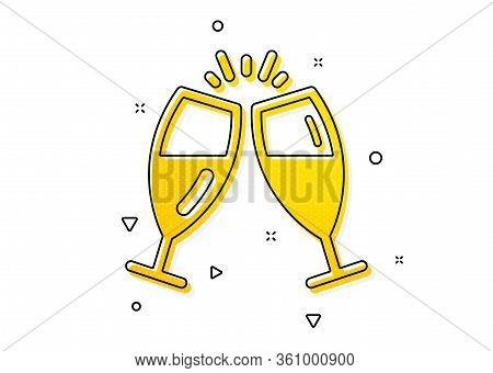 Romantic Celebration Sign. Champagne Glasses Icon. Love Chin-chin Symbol. Yellow Circles Pattern. Cl