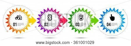 Loyalty Star, Loyalty Gift And Scroll Down Icons Simple Set. Timeline Steps Infographic. Hand Click