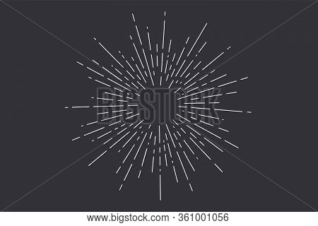 Sunburst. Light Rays, Sunburst And Rays Of Sun. Hand Drawn Black And White Design Elements, Linear D