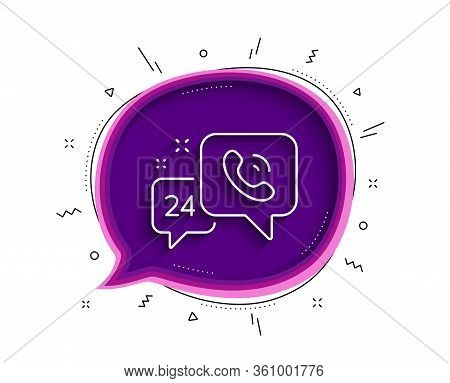 24 Hour Service Line Icon. Chat Bubble With Shadow. Call Support Sign. Feedback Chat Symbol. Thin Li