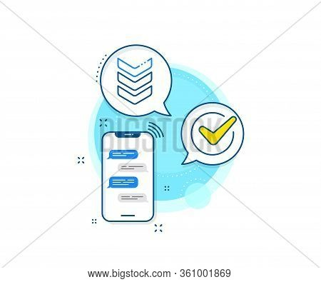 Army Reward Sign. Phone Messages Complex Icon. Shoulder Strap Line Icon. Best Rank Symbol. Messenger