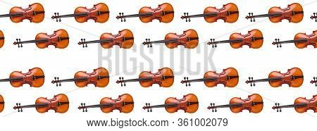 Violin Seamless Pattern On White Background. Seamless Pattern Violin Music Instrument. Minimalistic