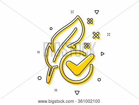 Feather Sign. Hypoallergenic Tested Icon. No Synthetic Symbol. Yellow Circles Pattern. Classic Hypoa
