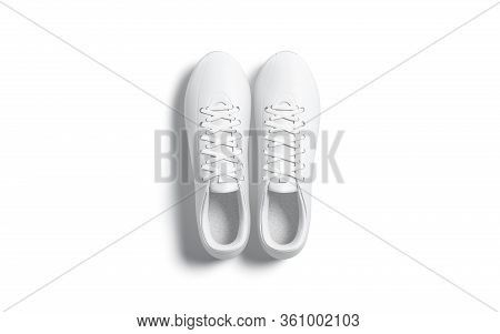 Blank White Soccer Boots Pair Mockup, Top View, 3d Rendering. Empty Sport Snickers For Jogging Or Fi
