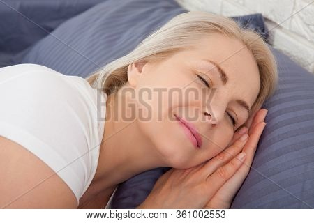 Beautiful Middle Woman Sleep Close Her Eyes Smile Sleep And Sweet Dream On Bed In Bedroom In The Mor