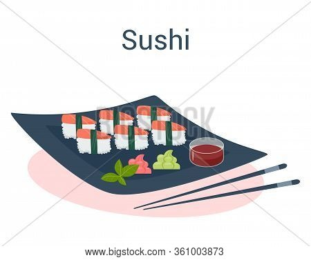 Sushi Roll On The Plate With Wasabi And Black Chopstick
