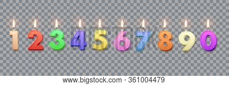 Different Color Birthday Candles With Burning Flames Isolated On Transparent Background. Vector Desi