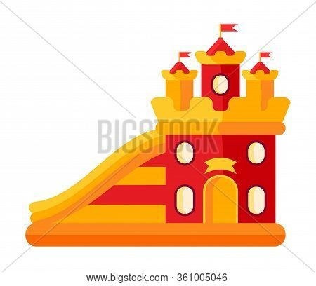 Colorful Bouncy Castle In Amusement Park Flat. Air Trampoline Castle Cartoon Style. Playground On Fu
