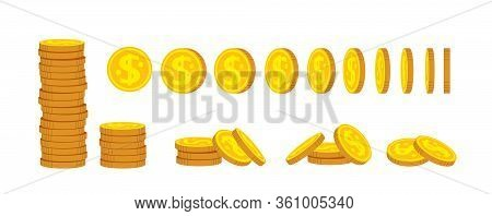Coin Stack Flat Cartoon Set. Gold Coins Pile Heap, Bank Currency Sign. Pennies Turn Around, Animatio