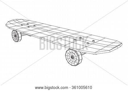 Skateboard Longboard Pennyboard. Eco Alternative City Transport. Wireframe Low Poly Mesh Vector Illu